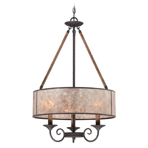 Quoizel Lighting Quoizel Bandelier Imperial Bronze Pendant Light with Drum Shade BDR2820IB
