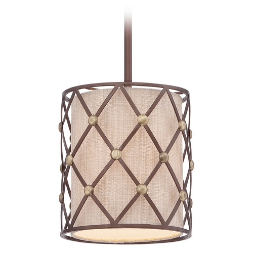 Quoizel Lighting Quoizel Brown Lattice Copper Canyon Mini-Pendant Light with Cylindrical Shade BWL1508CC
