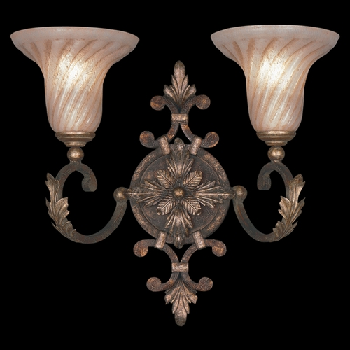Fine Art Lamps Fine Art Lamps Stile Bellagio Tortoised Leather Crackle with Stained Silver Leaf Accents Bathroom Li 175350ST
