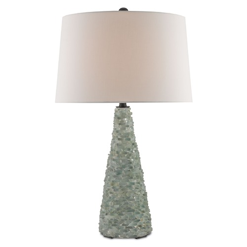 Currey and Company Lighting Currey and Company Quayside Seaglass/white/satin Black Table Lamp with Empire Shade 6157
