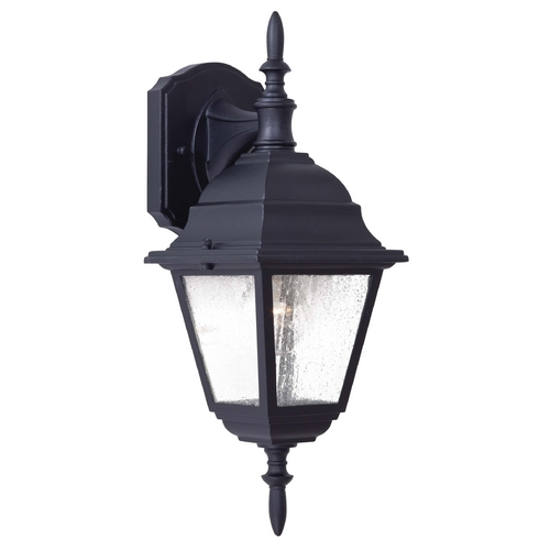 Minka Lavery Outdoor Wall Light with Clear Seeded Glass in Black Finish 9067-66