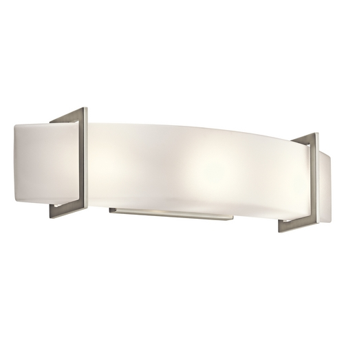 Kichler Lighting Kichler Brushed Nickel Modern Bathroom Light with White Glass 45220NI