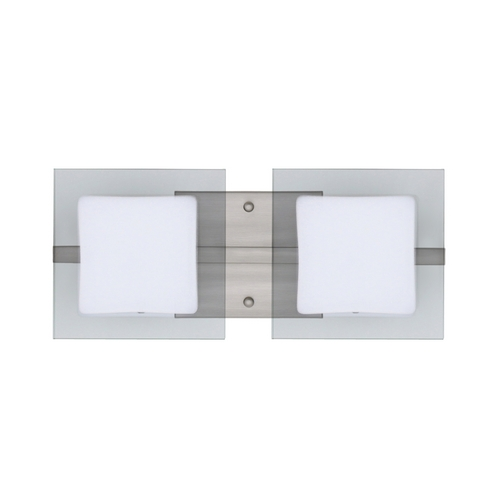 Besa Lighting Modern Bathroom Light with White Glass in Satin Nickel Finish 2WS-773539-SN