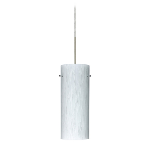 Besa Lighting Modern Pendant Light with White Glass in Satin Nickel Finish 1JT-412319-SN