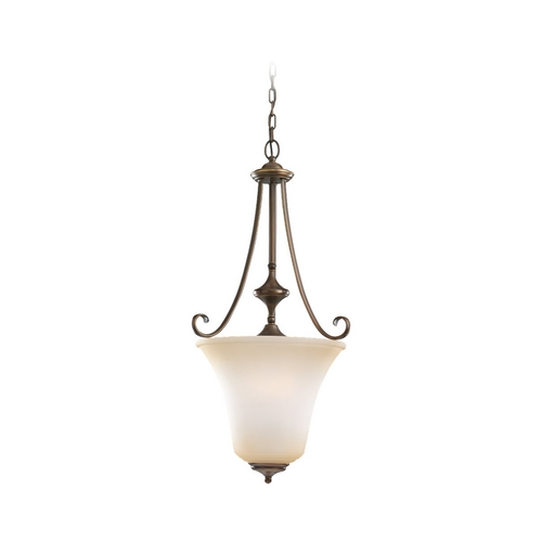 Sea Gull Lighting Pendant Light with Beige / Cream Glass in Russet Bronze Finish 51380-829