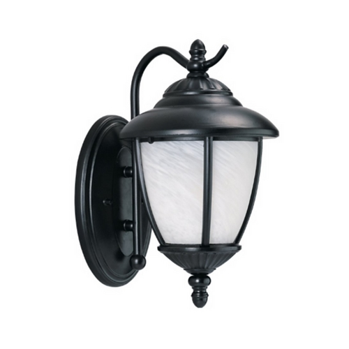 Sea Gull Lighting Outdoor Wall Light with White Glass in Black Finish 89049BLE-12