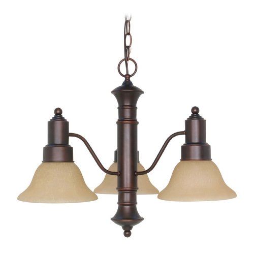 Nuvo Lighting Chandelier with Beige / Cream Glass in Mahogany Bronze Finish 60/3104
