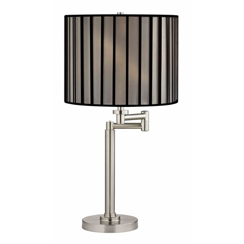 Design Classics Lighting Swing Arm Table Lamp with Black and Opaque Lamp Shade 1902-09 SH9548