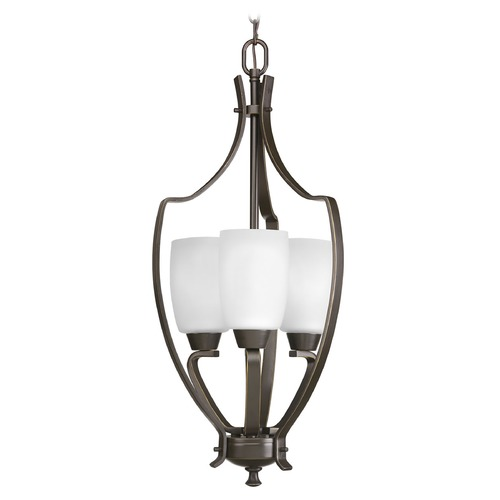 Progress Lighting Progress Pendant Light with White Glass in Antique Bronze Finish P3509-20