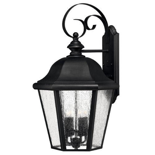 Hinkley Lighting Seeded Glass Outdoor Wall Light Black Hinkley Lighting 1675BK