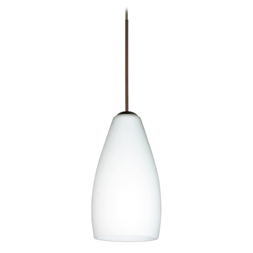 Besa Lighting Besa Lighting Karli Bronze Mini-Pendant Light with Oblong Shade 1XT-719807-BR