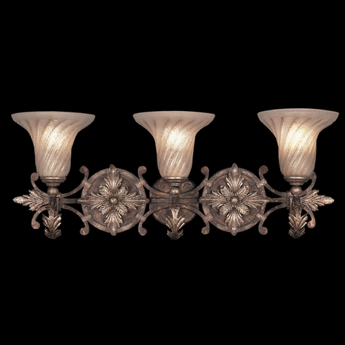 Fine Art Lamps Fine Art Lamps Stile Bellagio Tortoised Leather Crackle with Stained Silver Leaf Accents Bathroom Li 175550ST