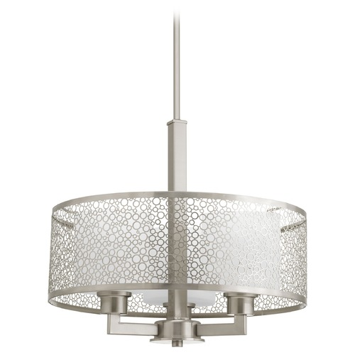 Progress Lighting Progress Lighting Mingle Brushed Nickel Pendant Light with Cylindrical Shade P5155-09