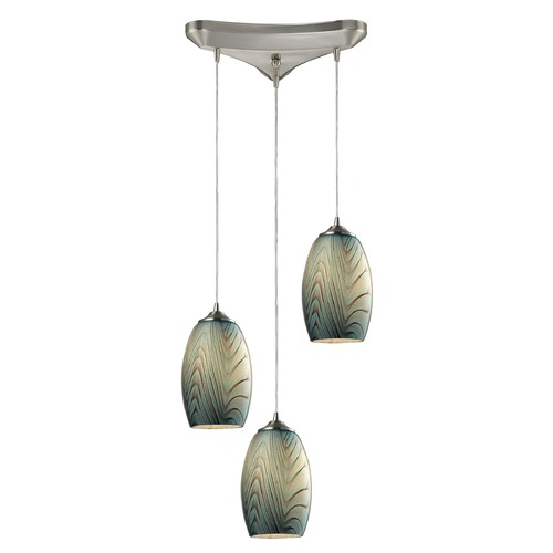 Elk Lighting Elk Lighting Tidewaters Satin Nickel Multi-Light Pendant with Bowl / Dome Shade 31620/3