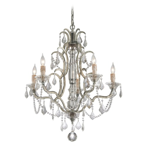Troy Lighting Troy Lighting Montparnasse Silver Leaf Crystal Chandelier F4575