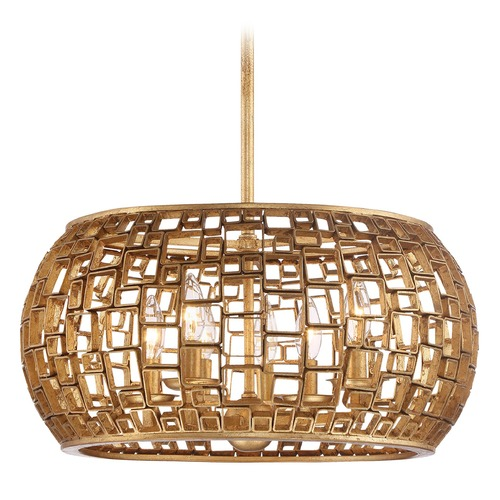 Metropolitan Lighting Abbondanza Halcyon Gold Pendant Light with Drum Shade N7135-597