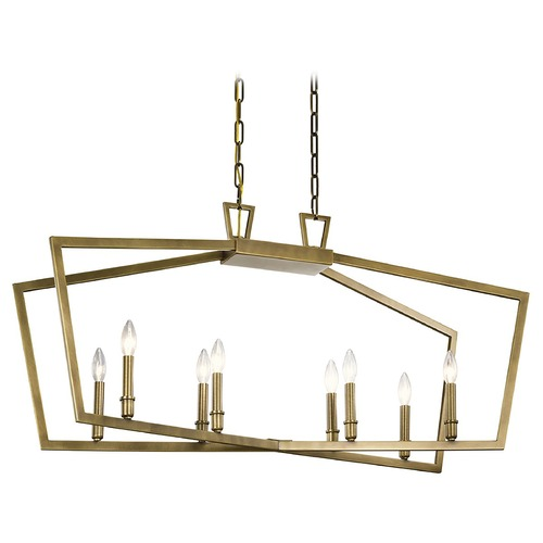 Kichler Lighting Abbotswell 8-Light Natural Brass Chandelier with Exposed Bulb 43494NBR