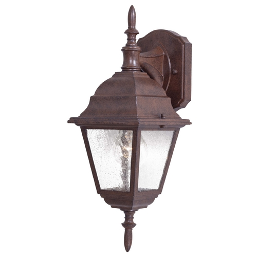 Minka Lavery Outdoor Wall Light with Clear Seeded Glass in Antique Bronze Finish 9067-91
