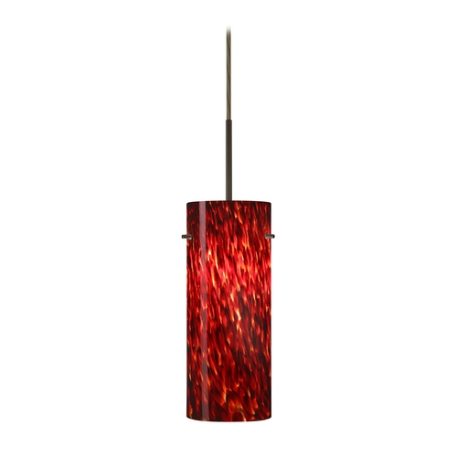 Besa Lighting Modern Pendant Light with Red Glass in Bronze Finish 1JT-412341-BR