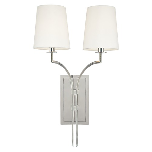 Hudson Valley Lighting Sconce Wall Light with White Shades in Polished Nickel Finish 3112-PN