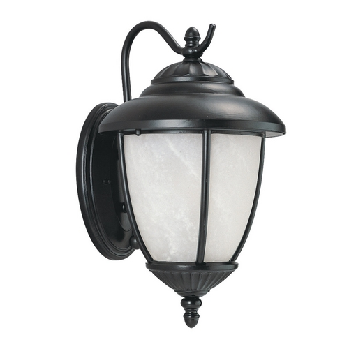 Sea Gull Lighting Outdoor Wall Light with White Glass in Black Finish 89049PBLE-12