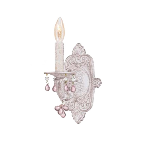 Crystorama Lighting Crystal Sconce Wall Light in Antique White Finish 5201-AW-ROSA