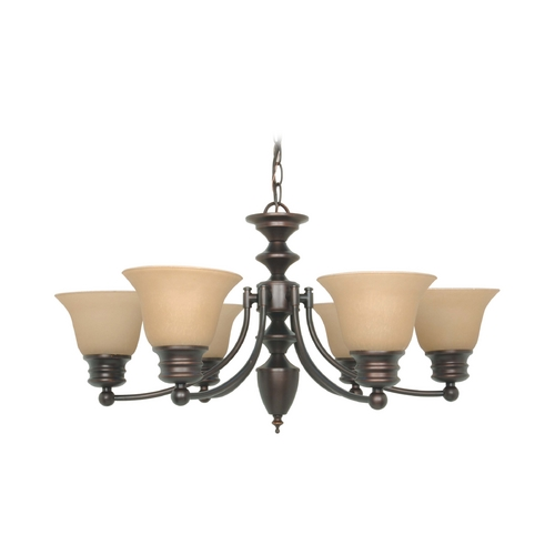 Nuvo Lighting Chandelier with Beige / Cream Glass in Mahogany Bronze Finish 60/3129