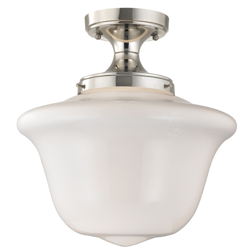Design Classics Lighting 14-Inch Schoolhouse Ceiling Light in Polished Nickel Finish FES-15/ GD14