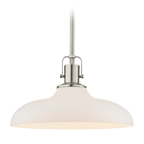 Design Classics Lighting Nautical Satin Nickel Pendant Light with White Glass 14-Inch Wide 1762-09 G1784-WH