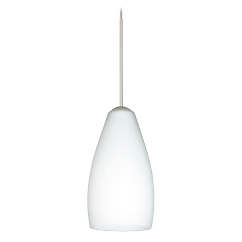 Besa Lighting Besa Lighting Karli Satin Nickel Mini-Pendant Light with Oblong Shade 1XT-719807-SN