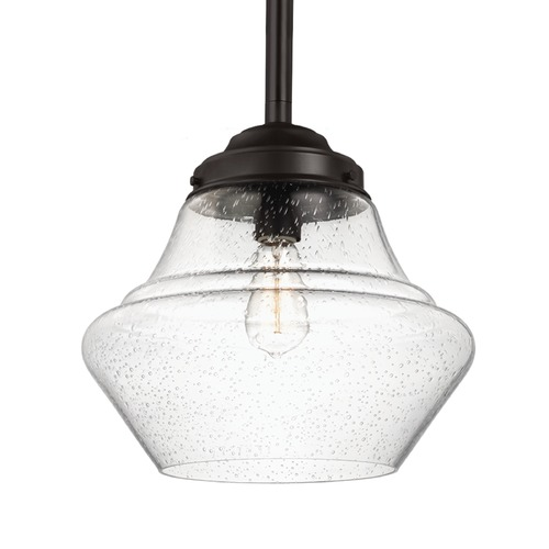 Feiss Lighting Schoolhouse Pendant Light Seeded Glass Bronze 13.875-Inch Wide by Feiss Lighting P1409ORB