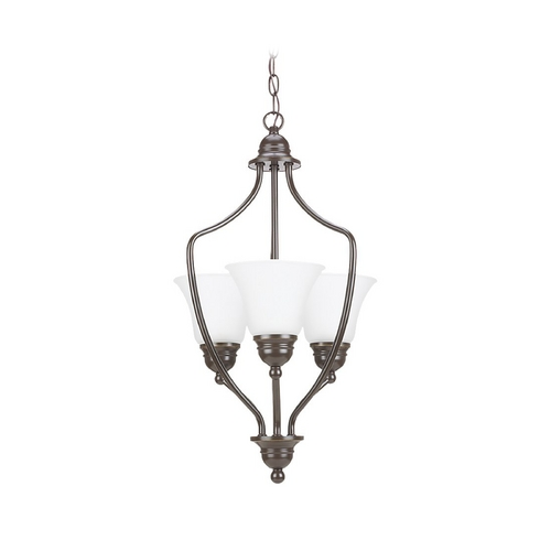 Sea Gull Lighting Pendant Light with White Glass in Heirloom Bronze Finish 51410-782