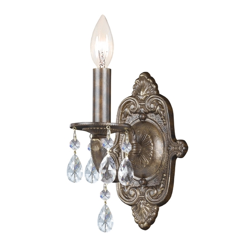 Crystorama Lighting Crystal Sconce Wall Light in Venetian Bronze Finish 5021-VB-CL-MWP