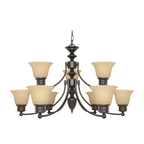 Nuvo Lighting Chandelier with Beige / Cream Glass in Mahogany Bronze Finish 60/3131