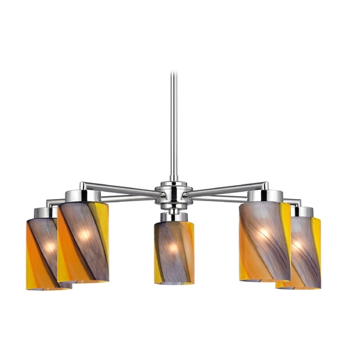 Design Classics Lighting Modern Chandelier with Art Glass in Polished Chrome Finish 590-26 GL1015C