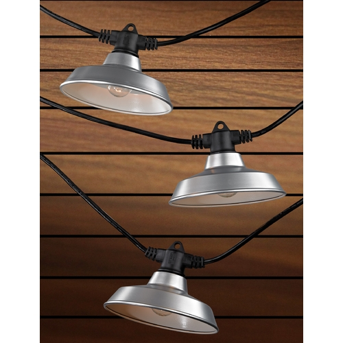 Design Classics Lighting 7-Light Outdoor String Light with Galvanized RLM Shades - 35 Feet Long 357 S358-GP