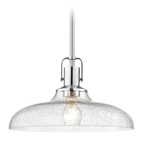 Design Classics Lighting Seeded Glass Pendant Light Chrome 14-Inch Wide 1762-26 G1784-CS