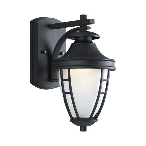 Progress Lighting Outdoor Wall Light with White Glass in Black Finish P5492-31