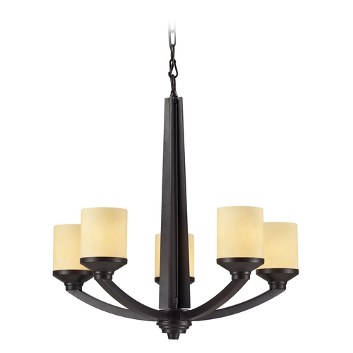 Elk Lighting Chandelier with Beige / Cream Glass in Oiled Bronze Finish 14097/5
