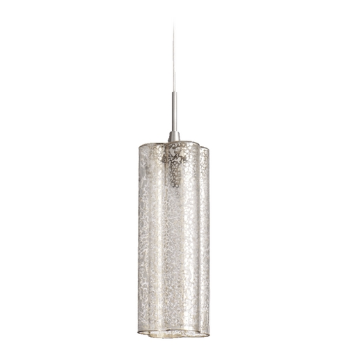 Quorum Lighting Quorum Lighting Satin Nickel W/ Mercury Mini-Pendant Light with Cylindrical Shade 1357-4765