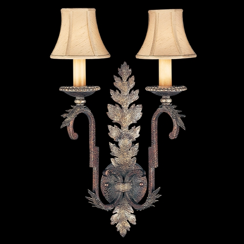 Fine Art Lamps Fine Art Lamps Stile Bellagio Tortoised Leather Crackle with Stained Silver Leaf Accents Sconce 115950ST