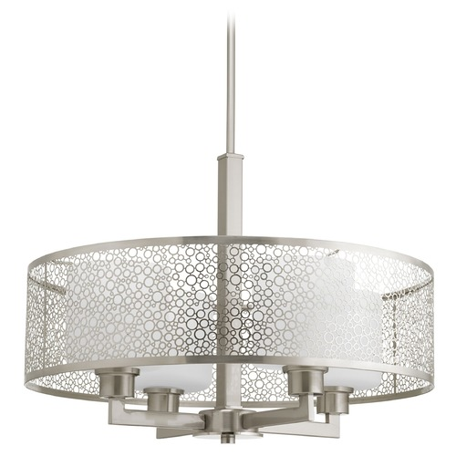 Progress Lighting Progress Lighting Mingle Brushed Nickel Pendant Light with Cylindrical Shade P5156-09