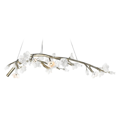 Golden Lighting Golden Lighting Aiyana Silver Leaf Chandelier 9942-7 SL