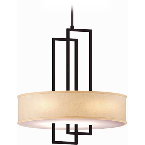 Lite Source Lighting Lite Source Adalyn Dark Bronze Pendant Light with Drum Shade LS-19524