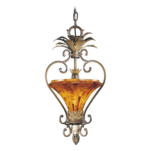 Metropolitan Lighting Pendant Light with Amber Glass in Cattera Bronze Finish N6523-468