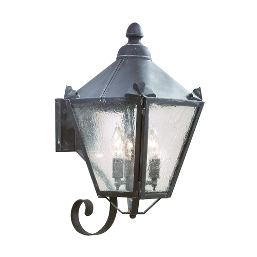 Troy Lighting Outdoor Wall Light with Clear Glass in Charred Iron Finish B8943CI