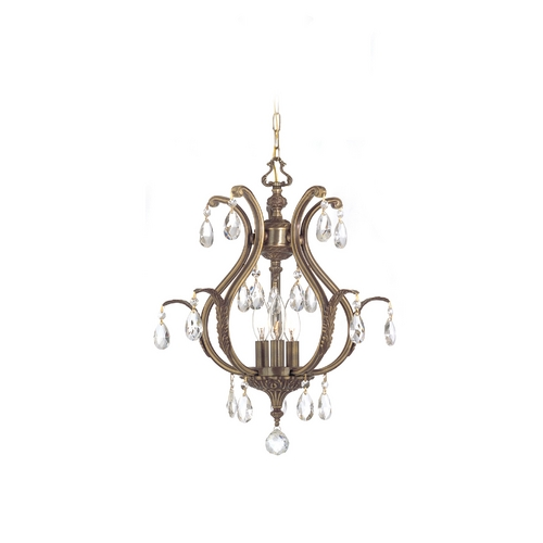 Crystorama Lighting Pendant Light in Antique Brass Finish 5560-AB-CL-SAQ