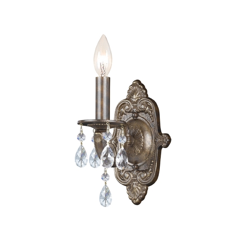 Crystorama Lighting Crystal Sconce Wall Light in Venetian Bronze Finish 5021-VB-CL-SAQ
