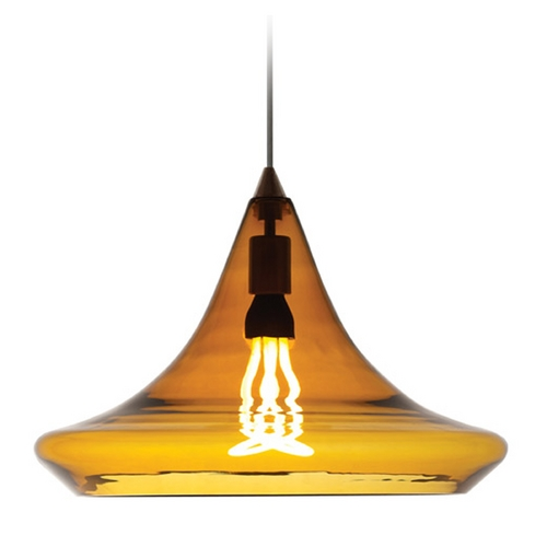 Tech Lighting Modern Pendant Light with Amber Glass in Antique Bronze Finish 700TDMALPAZ