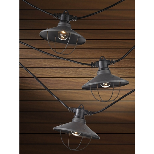 Design Classics Lighting 7-Light Outdoor String Light with Bronze Caged Cone Shades - 35ft Long 357 S359-EBZ